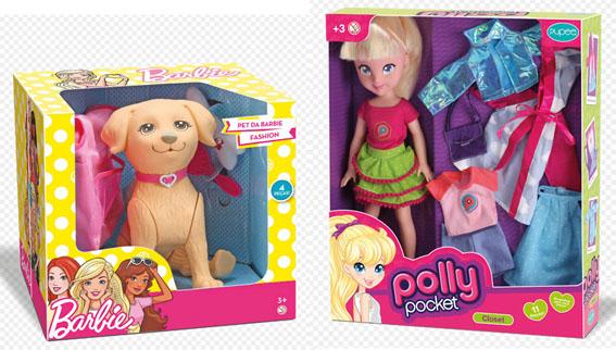 Polly e cachorrinho da Barbie em tamanho família